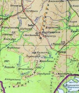 Мугоджары, карта