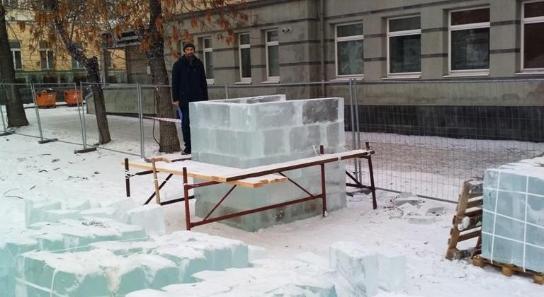 начало строительства центрального столба и ледяные блоки 16января2019